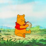 Frustrated Pooh with honey pot cel